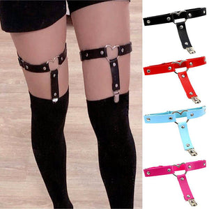 Women Punk Heart Sexy PU Leather Garter Belt Harajuku Elasticity Body Harness Tight Suspender Strap Leg Harness Bondage Belts - Pleasure Sexual