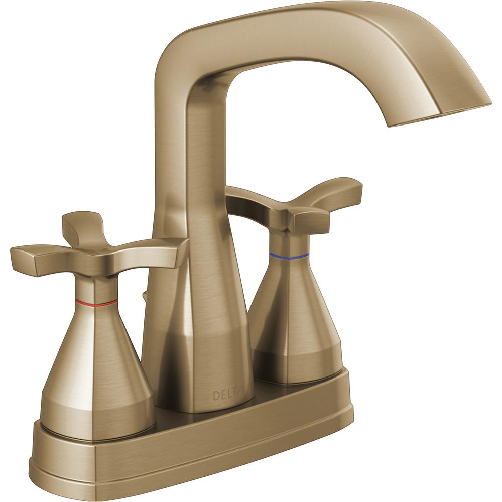 Delta Stryke 4 in. Centerset 2-Handle Bathroom Faucet in Champagne Bronze - NewBathroomFaucets.com