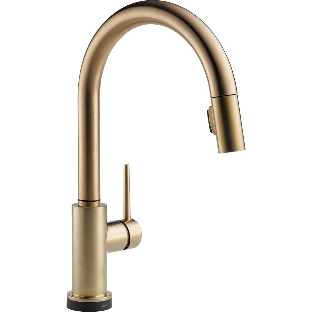 Delta Faucet 9159T-CZ-DST Trinsic Single Handle Pull-Down Kitchen Faucet Featuring Touch2O Technology, Champagne Bronze - NewBathroomFaucets.com