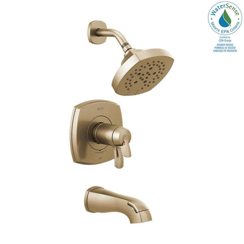 Delta Stryke TempAssure 1-Handle Wall Mount 5-Spray Tub and Shower Faucet Trim Kit in Champagne Bronze (Valve Not Included) - NewBathroomFaucets.com