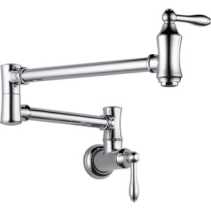 Delta 1177LF Pot Filler Faucet - Wall Mount, Chrome - NewBathroomFaucets.com