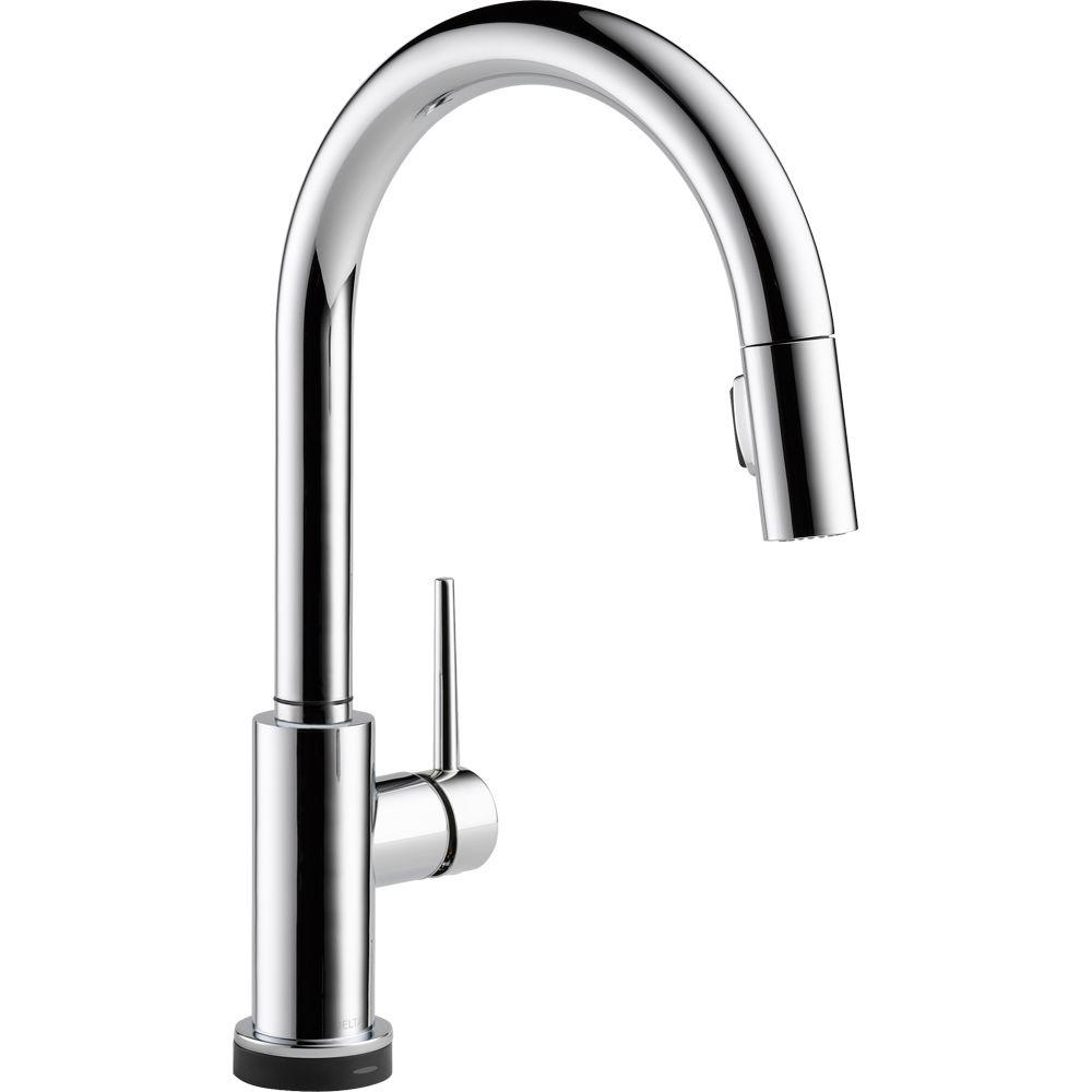 Delta Faucet 9159T-DST Trinsic Single Handle Pull-Down Kitchen Faucet Featuring Touch2O  Technology, Chrome - NewBathroomFaucets.com