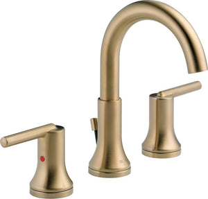 Delta Faucet 3559-CZMPU-DST Trinsic, Widespread Bath Faucet with metal pop-up, Champagne Bronze - NewBathroomFaucets.com
