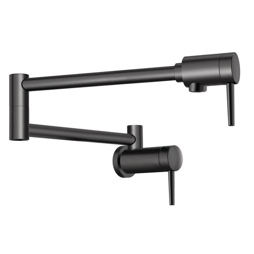 Contemporary Wall-Mount Pot Filler in Matte Black 1165LF-BL - NewBathroomFaucets.com