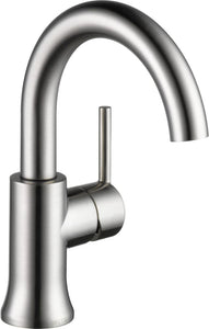 Delta Faucet 559HA-SS-DST Trinsic, Single Handle High-Arc Lavatory, Stainless - NewBathroomFaucets.com
