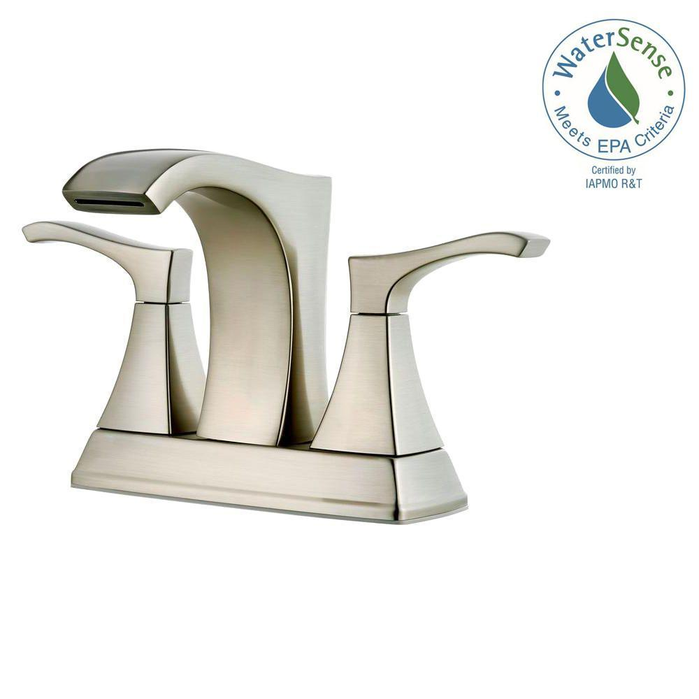 Venturi 4 in. Centerset 2-Handle Bathroom Faucet in Brushed Nickel - NewBathroomFaucets.com