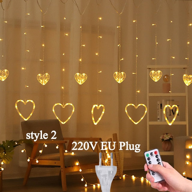 Vintage Heart Shaped Curtain Lights