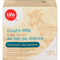 Image of Life Brand Goats Milk Soap, Unscented3x90g