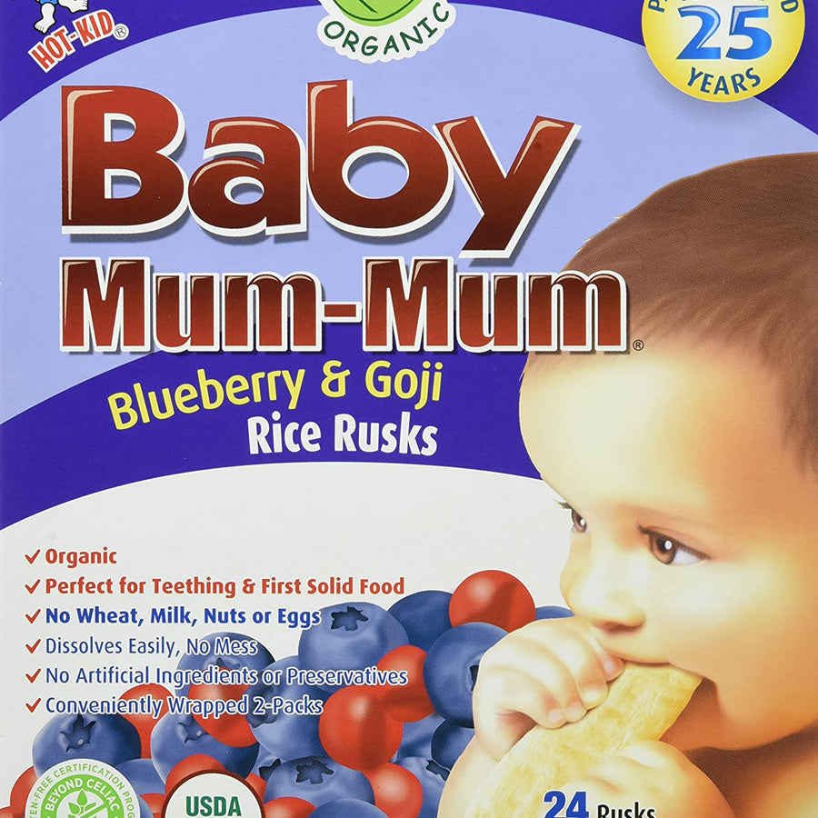 Mum Mum Organic Rice Biscuit Blueberry Goji 50g