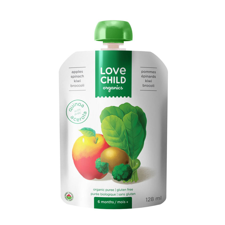 Love Child, Organic Apple Spinach Kiwi Broccoli Puree Pouch 128mL