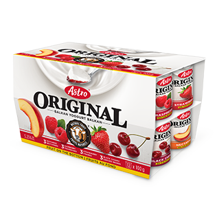 Astro Original Yogurt, Nectarine/Raspberry/Strawberry/Black Cherry 12x100g