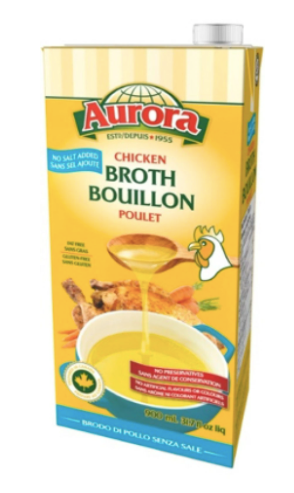Aurora Chicken Broth, No Salt Added 900 ML