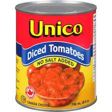 Image of Unico Diced Tomatoes,  No Salt Added 796 ML