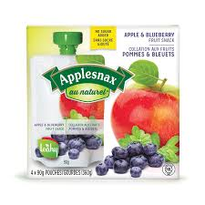Image of Applesnax  Apple & Blueberry Unsweetened Pouches 4 X 90G