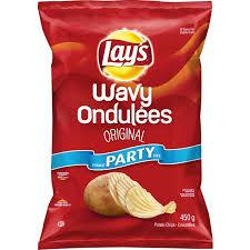 Lays Original Wavy Potato Chips, Party Size450g