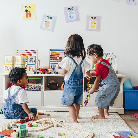 Children playing in a toy room