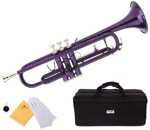 Mendini by Cecilio Standard Bb Trumpet with Hard Case, Gloves, 7C Mouthpiece, and Valve Oil