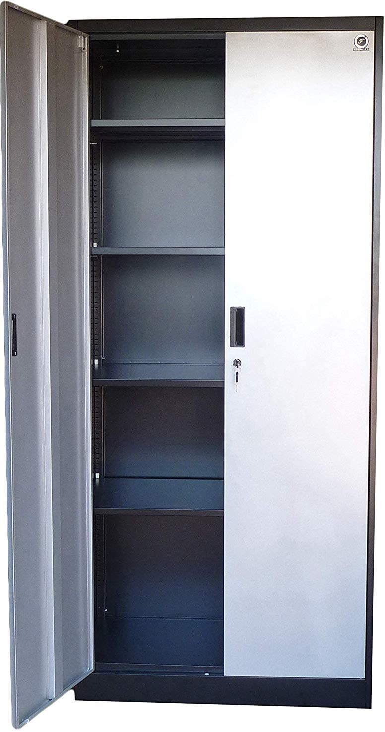 "Steel Storage Cabinet 71"" Tall, Lockable Doors and Adjustable Shelves, 70.86"" Tall x 31.5"" W x 15.75"" D"