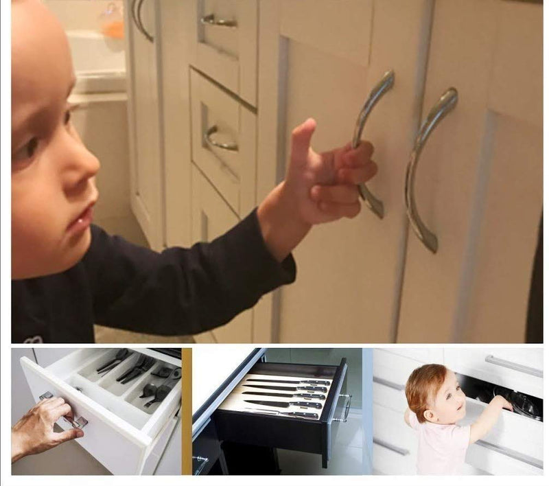 Cabinet Locks for Babies - 6 Safety Latches, 2 Keys
