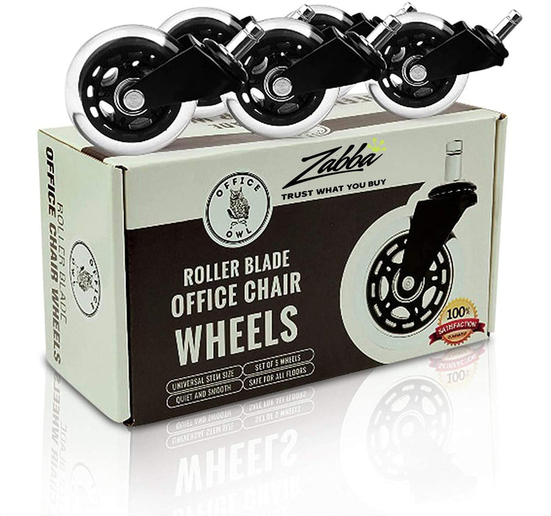 "Office Owl Office Chair Wheels Replacement, Set of 5 -Heavy Duty 3"" Rubber Chair Casters -Wood & Hardwood Floors"