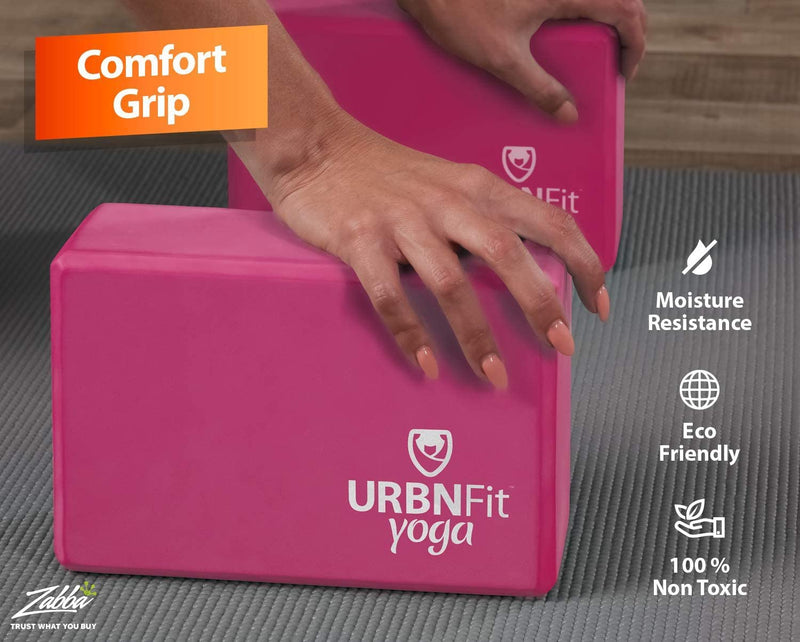 URBNFit Yoga Block - (2PC Blocks Set with Stretch Strap) - Moisture Resistant High Density EVA Foam Block - Improve Balance and Flexibility Perfect for Home or Gym - Free PDF Workout Guide