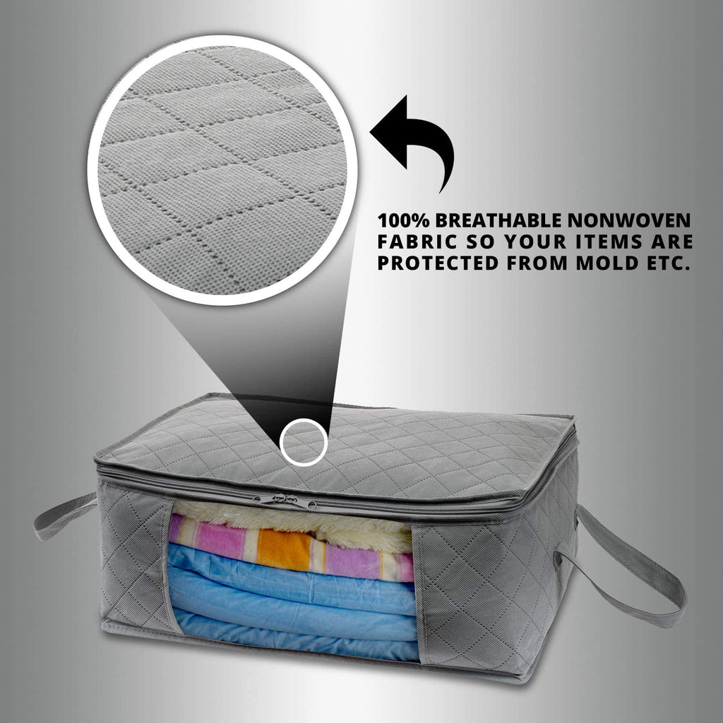 Towels Winter /& Summer Clothing Bedrooms Blankets Large Closets Large Clear Window /& Carry Handles Great for Clothes Woffit Foldable Storage Bag Organizers Under Bed /& More