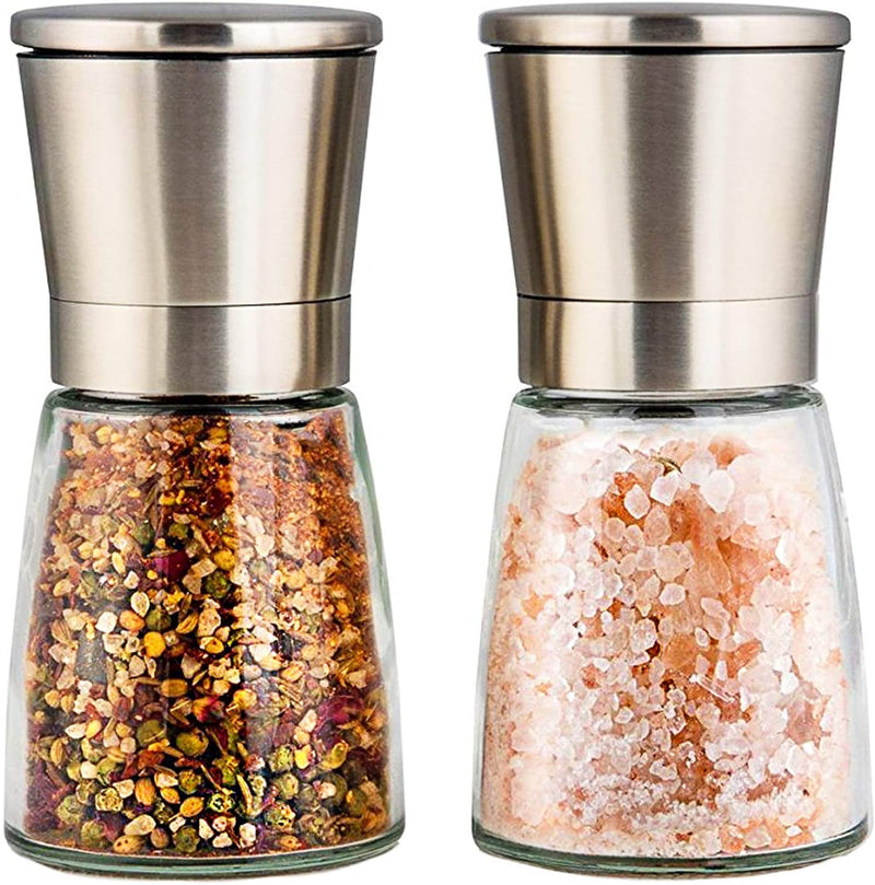 Modetro Salt and Pepper Grinder Set with Silicone Stand - Premium Pair of Salt & Peppercorn Mills with Adjustable Ceramic Coarseness - Brushed Stainless Steel Salt and Pepper Shakers