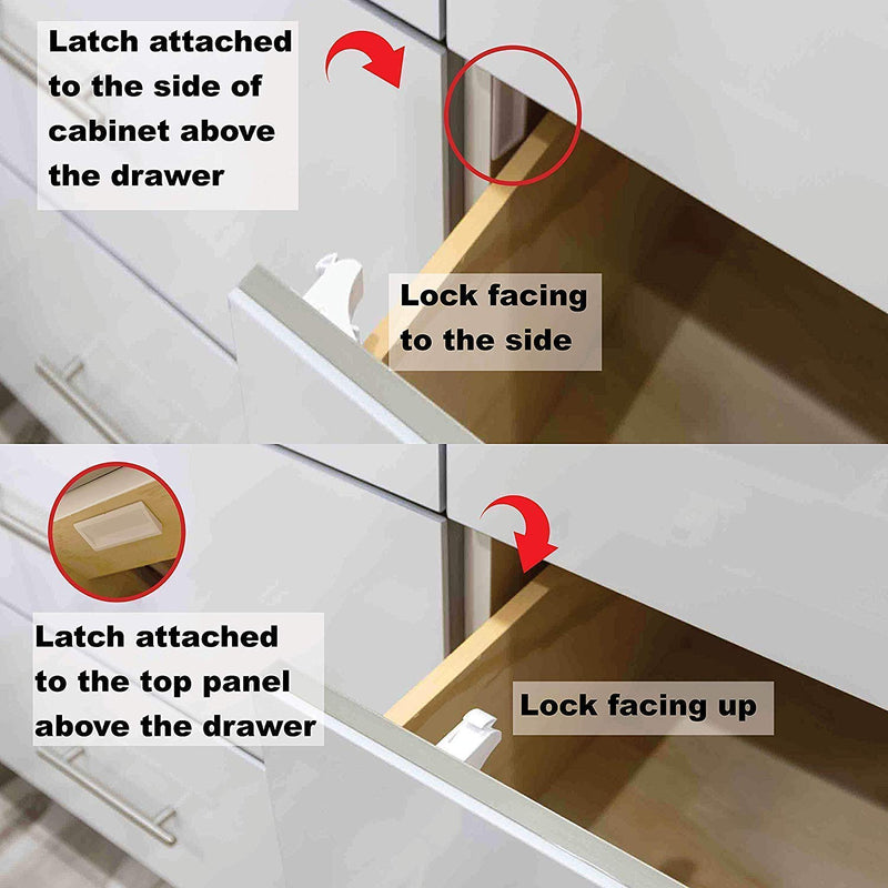Cabinet Locks for Babies - 20 Safety Latches, 3 Keys