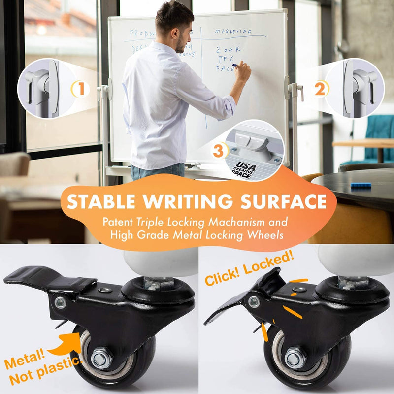 CREATIVE SPACE Standing Mobile Whiteboard - 48x36, Portable, Magnetic Dry Erase Board with Stand, Double Sided, Rolling - Office White Board on Wheels
