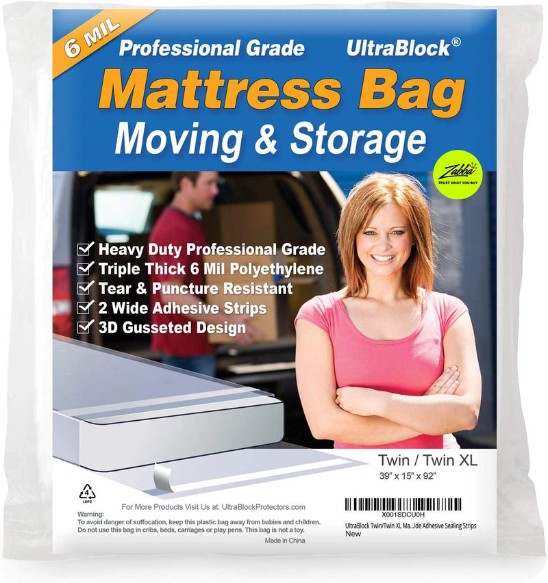 UltraBlock Mattress Storage Bag for Moving, Disposal - Heavy Duty Plastic Cover & Protector, Waterproof, Puncture Resistant