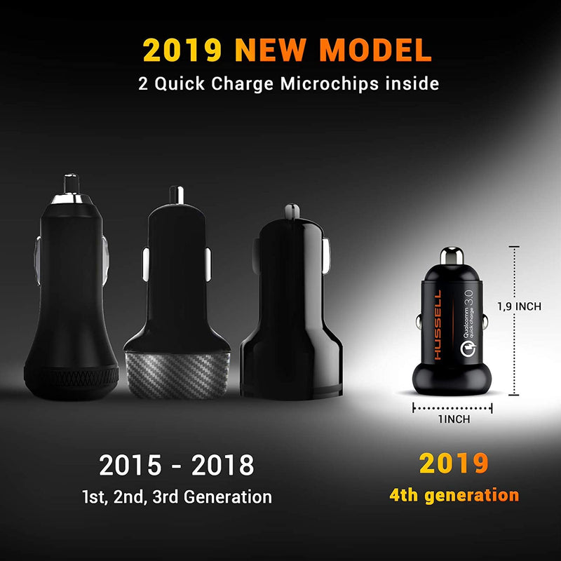 Metal Qualcomm Quick Charge 3.0 Car Charger by HUSSELL - 36W/6A Dual USB Ports QC 3.0 Car Charger Adapter - Smallest Case - NO Risk of Fire and Melting - Compatible with Any iPhone/Galaxy etc.