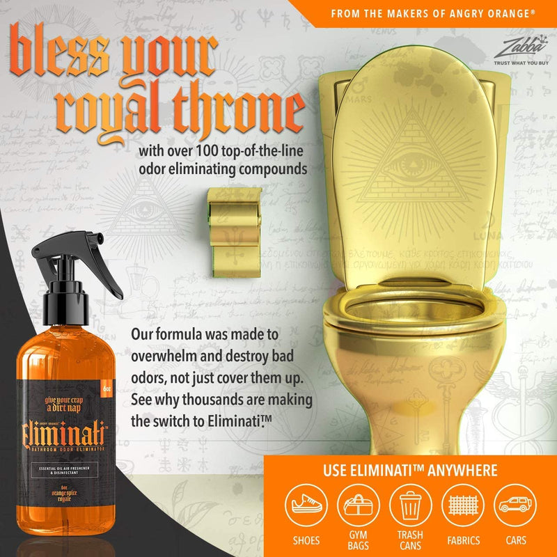 Eliminati Toilet & Bathroom Spray - 6oz Orange Spice Royale Scented Room Air Freshener & Odor Eliminator - Pre Poop Citrus like Potpourri Spray - Use For Poo, Pets, or Home - By Angry Orange
