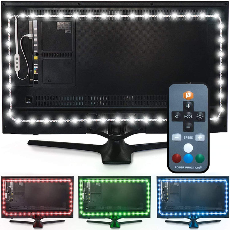 "Luminoodle Color Computer Monitor Backlight - 15 Color Bias Lighting with Remote - 3.3 ft for Monitors up to 24"" - LED USB Powered TV Light, RGB Strip"