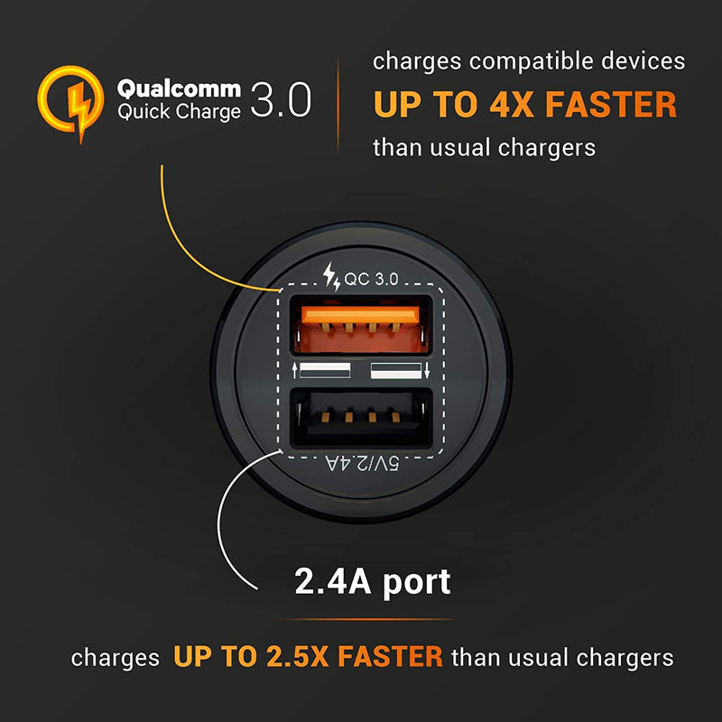 HUSSELL Car Charger - Qualcomm Quick Charge 3.0 - Dual USB 5.4A/30W Fast Car Charger Adapter - QC 3.0 3A + Smart IC 2.4A - Compatible with iPhone - Galaxy S20 S10 S9 S8 S7 S6 Note LG Nexus etc.