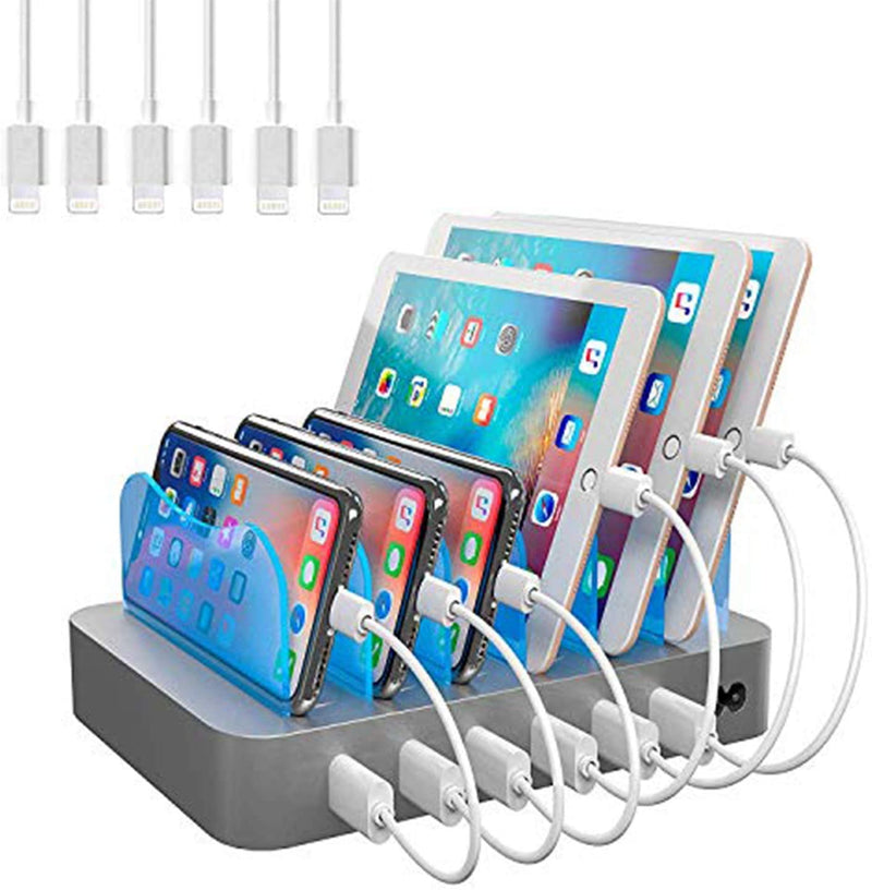 Hercules Tuff Charging Station for Multiple Devices - 6 USB Fast Ports - White