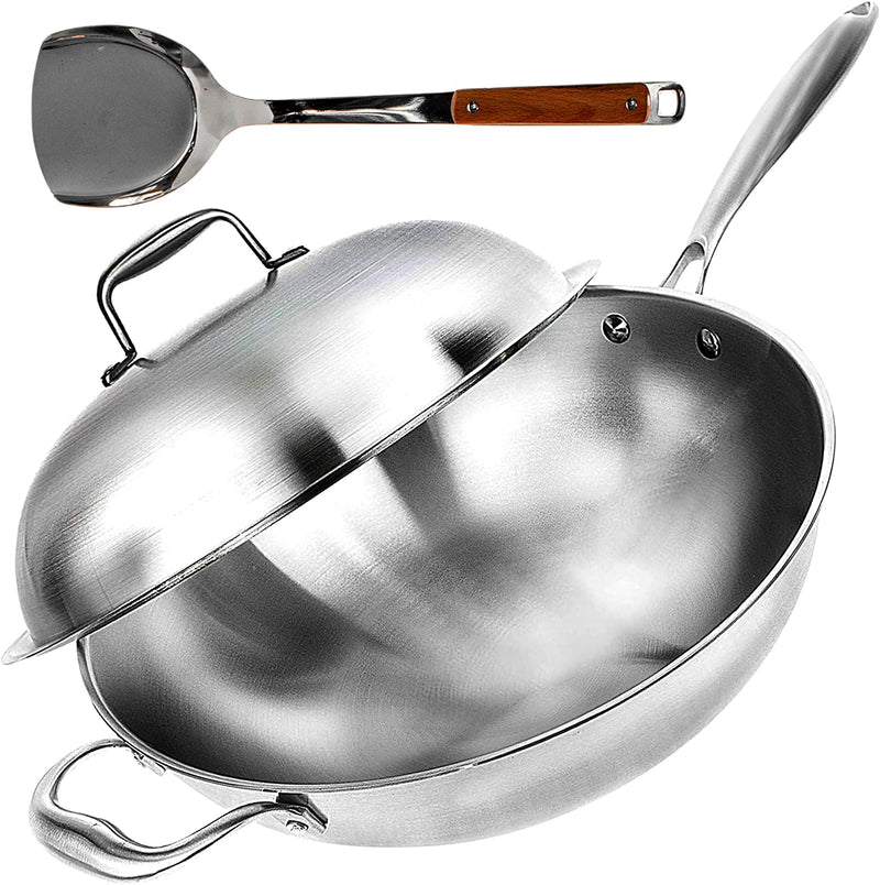 "Wok Pan with Lid - 13"" Wide, 2mm Thick Stir Fry Frying Pan Stainless Steel – Non Stick, Scratch Resistant, Oven Safe - Bamboo Spatula Included"