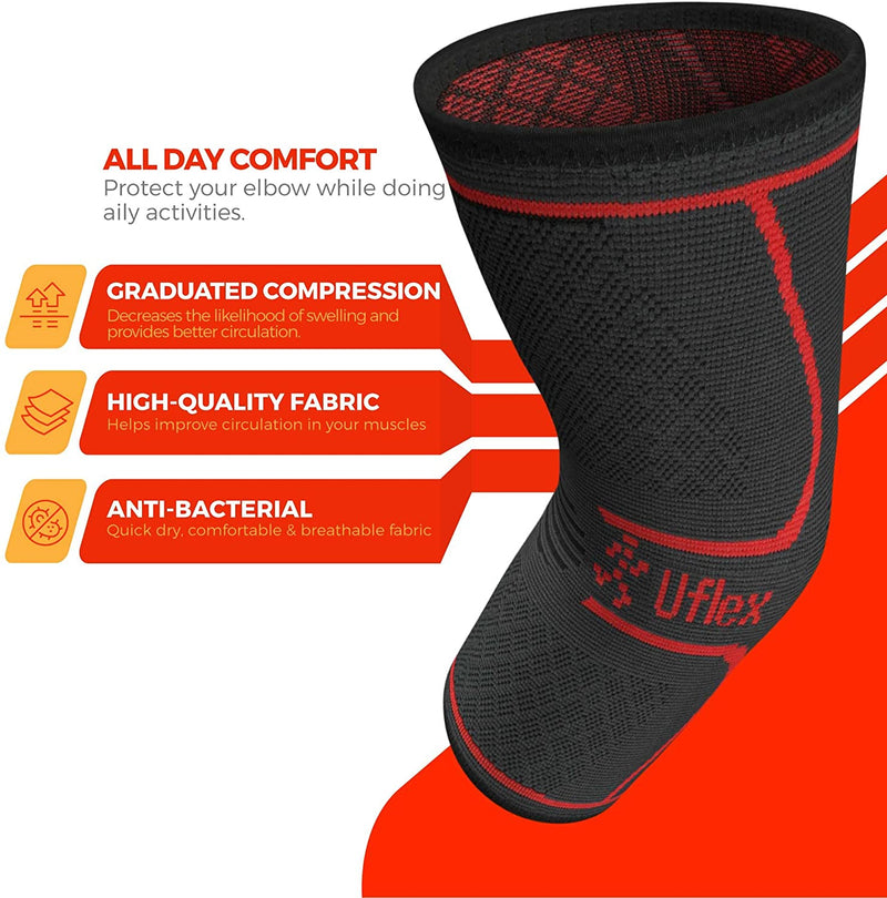 Uflex Elbow Compression Sleeve for Women & Men- Brace for Injury Recovery, Tendonitis, Tennis Elbow, Bursitis, Weightlifting, Golf, Basketball- Single Wrap