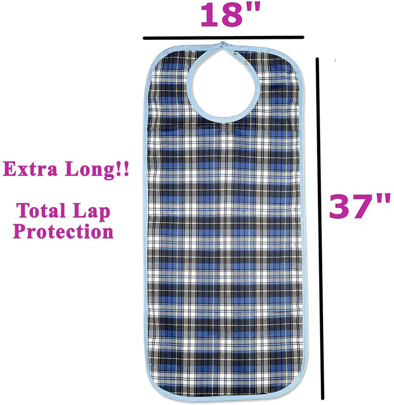 HappyNites Adult Bib Clothing Protector - Washable Reusable Bibs for Seniors for Eating at Mealtime, Waterproof Stain Resistant Bibs for Elderly