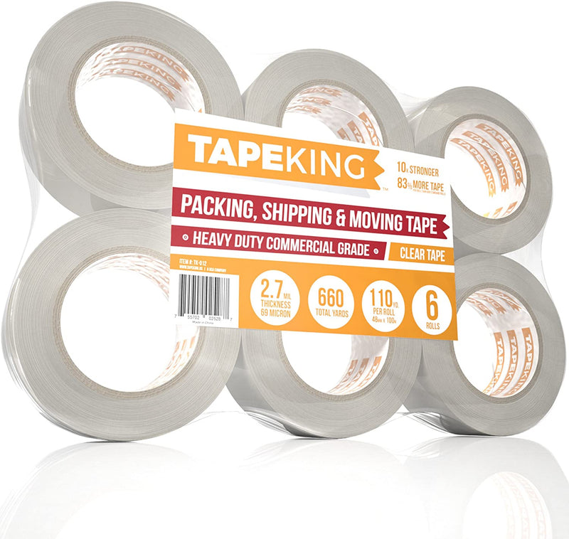 Clear 2 Inch Wide Packing Tape - 60 Yards Per Roll, 2.7mil Thick (Pack of 6 Rolls)