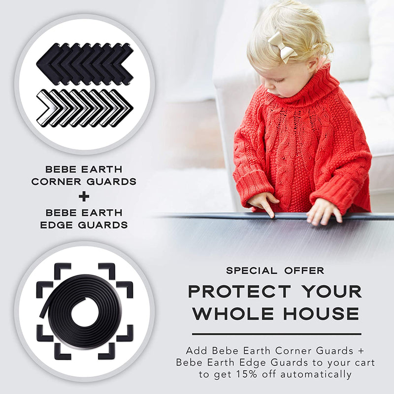 Bebe Earth - Baby Proofing Edge and Corner Guard Protector Set - Safety Bumpers - Child Proof Furniture and Tables - Pre-Taped Bumper Corners (16 Corners)