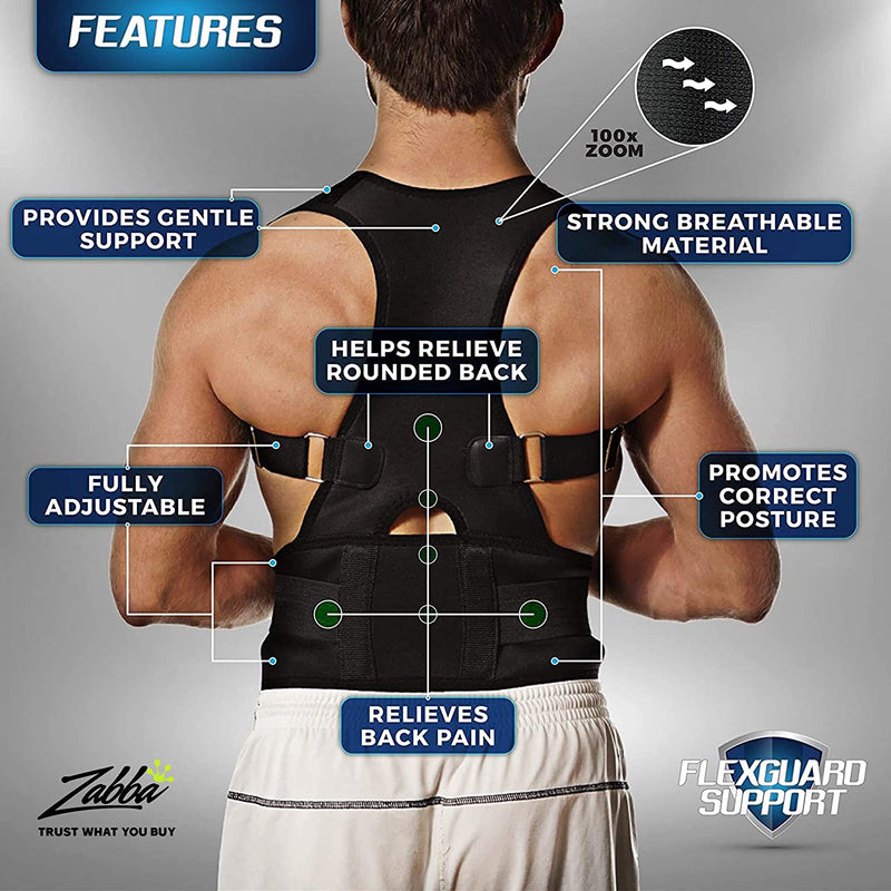 FlexGuard Support Back Brace Posture Corrector Provides Lumbar Support