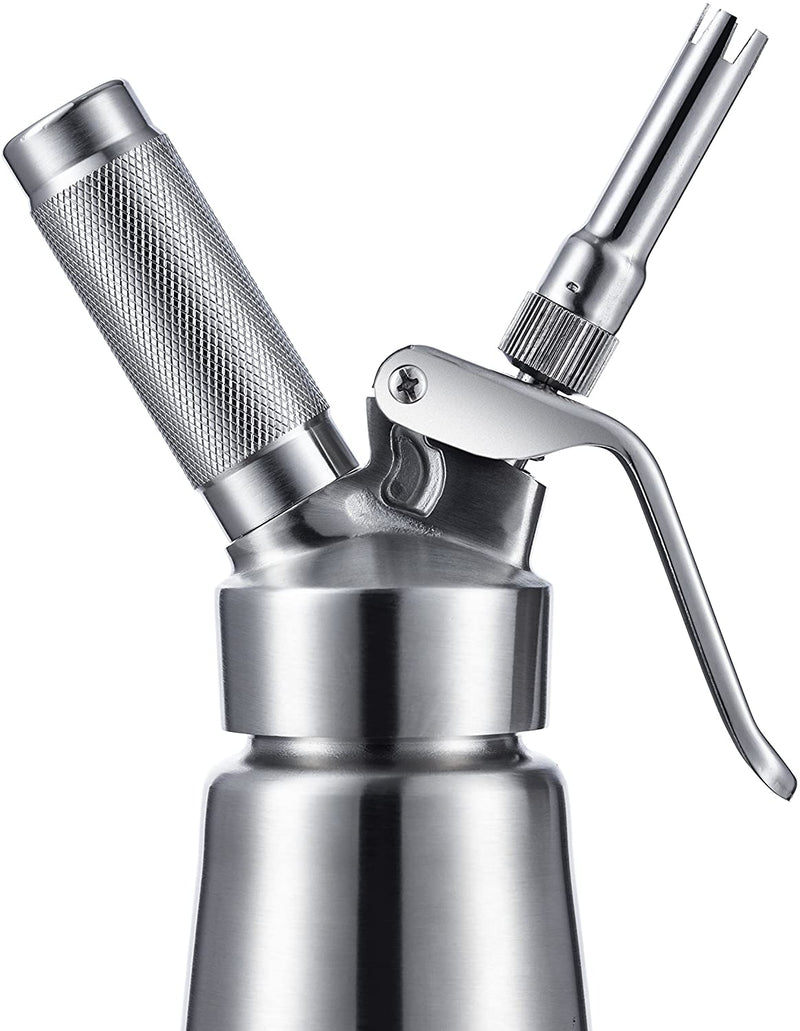 Whipped Cream Dispenser Stainless Steel - Professional Whipped Cream Maker - Gourmet Cream Whipper - Large 500ml / 1 Pint Capacity Canister - Includes 3 Culinary Decorating Nozzles