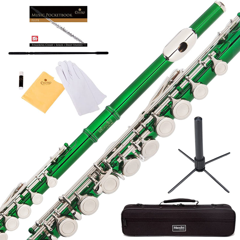 Mendini Closed Hole C Flute with Stand, 1 Year Warranty, Case, Cleaning Rod, Cloth, Joint Grease, and Gloves