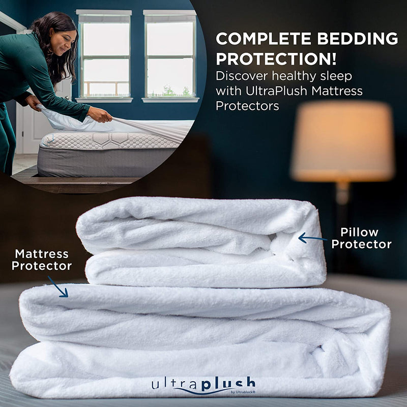 UltraPlush Premium Waterproof Pillow Protector - Hypoallergenic and Bed Bug Proof Zippered Pillow Case - 2 Pack - Super Soft and Quiet
