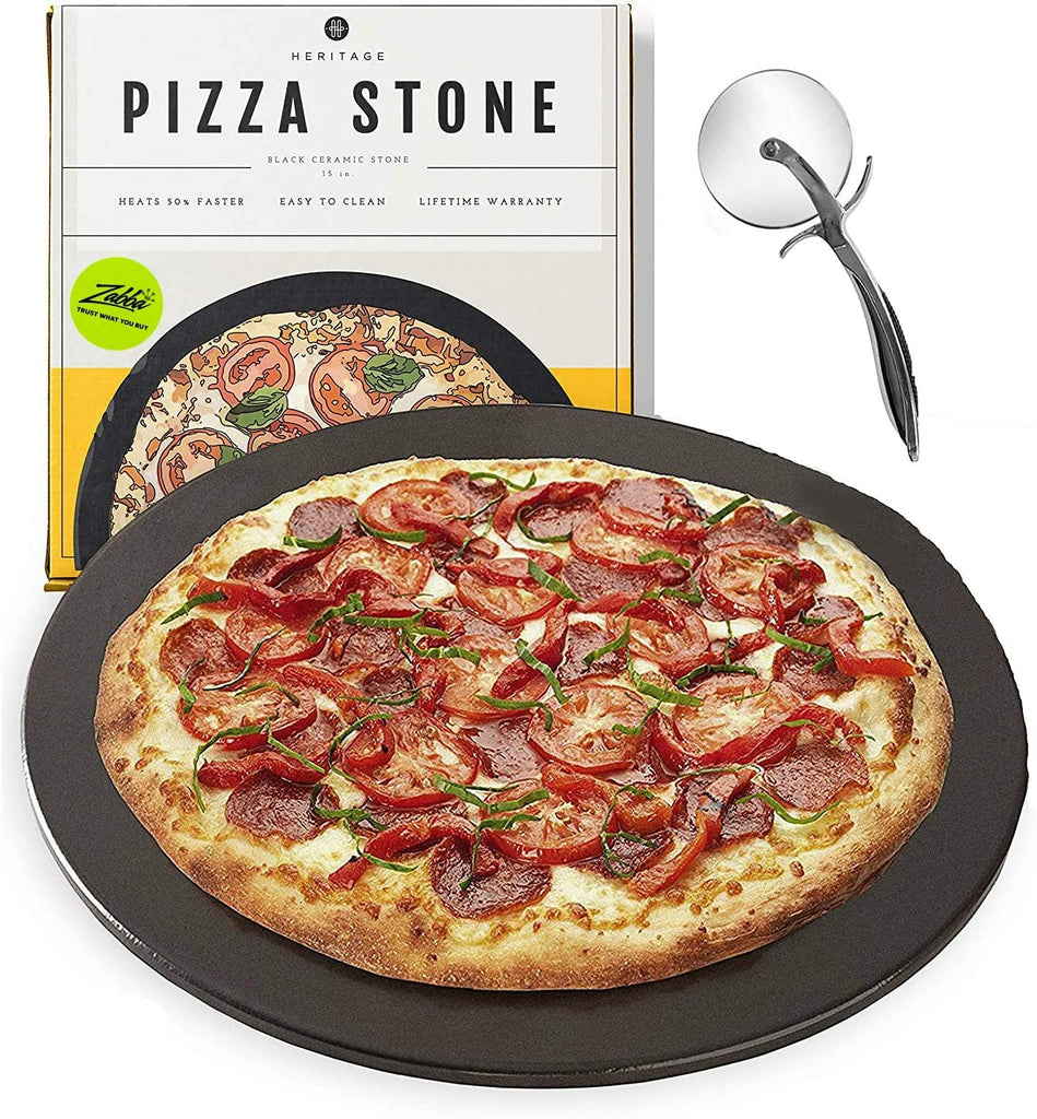 Heritage Black Ceramic Pizza Stone Pan and Pizza Cutter Wheel Set - Baking Stones for Oven, Grill & BBQ - Stainless & Nonstick