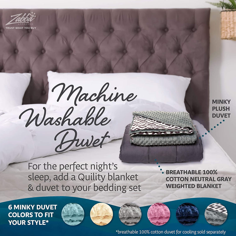"Quility Premium Kids & Adult Weighted Blanket & Removable Cover - 12 lbs - 48""x72"" - for Individual Between 110-140 lbs - Twin Size Bed - Premium Glass Beads - Cotton/Minky - Grey/Navy Blue Color"