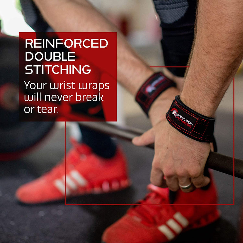 Dark Iron Fitness Weightlifting Leather Suede Lifting Wrist Straps Bundle for Men and Women - Wraps Weight for a Heavy Powerlifting Grip - Hooks with Padded Support
