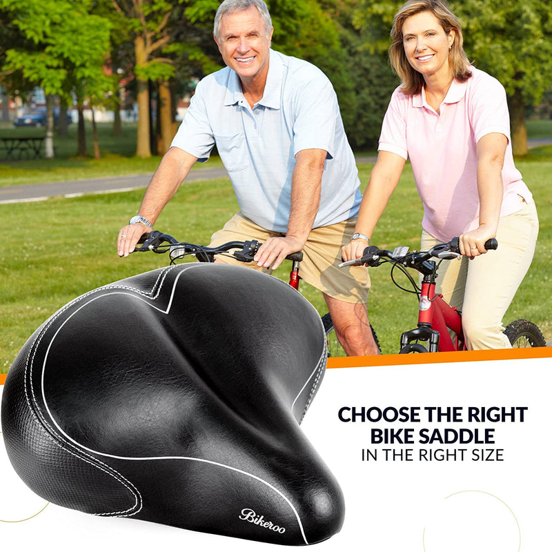 Oversized Comfort Bike Seat - Most Comfortable Replacement Bicycle Saddle - Universal Fit for Exercise Bike and Outdoor Bikes - Suspension Wide Soft Padded Bike Saddle