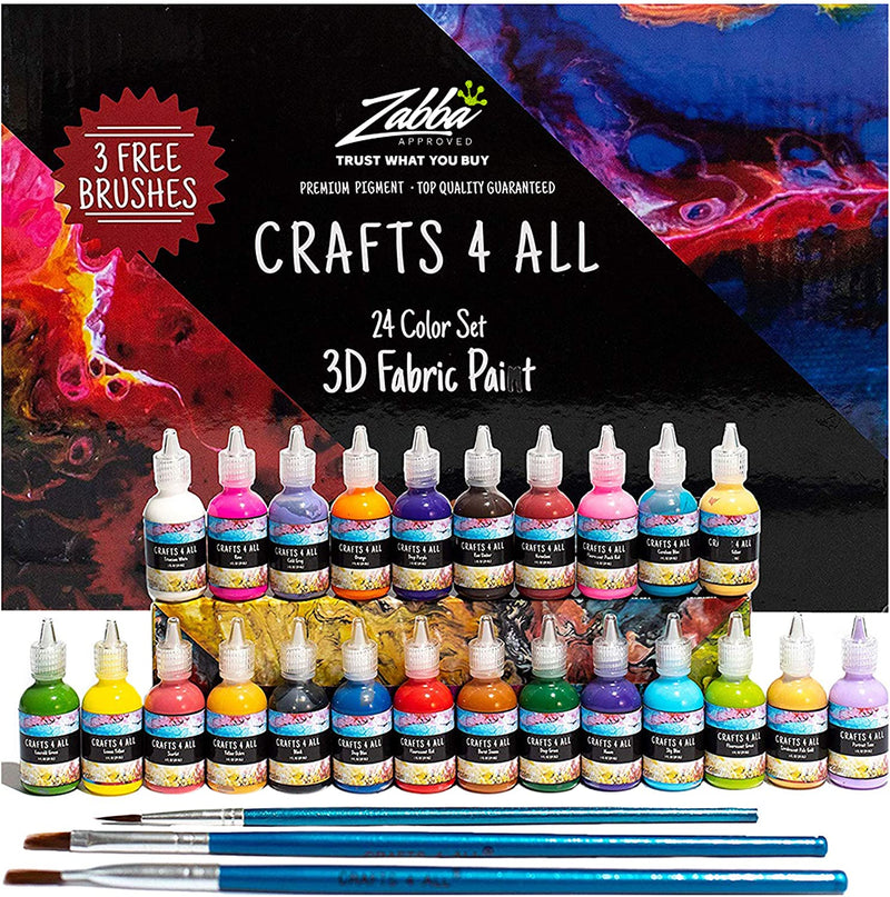 Crafts 4 All Fabric Paint 3D Permanent 24 Colors Set