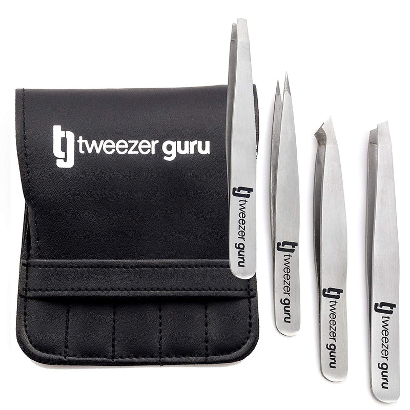 Tweezers Set 4-piece - Tweezer Guru Stainless Steel Slant Tip and Pointed Eyebrow Tweezer Set - Great Precision for Facial Hair, Ingrown Hair, Splinter and Blackhead Remover